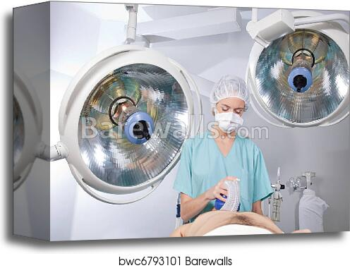 Canvas Print of Anesthetist in Operation Room | Barewalls Posters ...