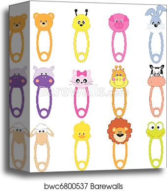 canvas print of animal baby safety pins barewalls posters prints