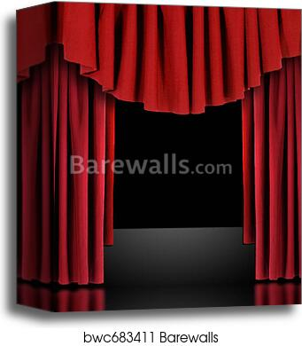 Canvas Print Of Red Theatre Stage Draped Curtains
