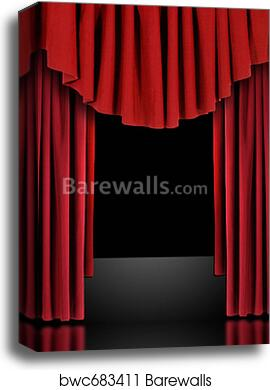 Charming Canvas Print Of Red Theatre Stage Draped Curtains