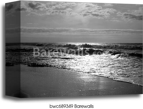 Canvas Print Of Black And White Sunset