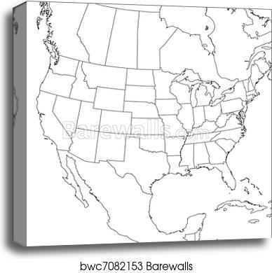 Blank United States Map (Lower 48) canvas print on 50 states map united states, name all 52 united states, coloring map of the united states, map of the great lakes united states, contiguous united states, map of the united states of america in color, map of the midwest united states, large printable map united states, cultural map of the united states,