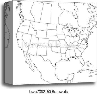 Blank United States Map (Lower 48) canvas print