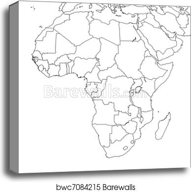 image about Blank Africa Map Printable titled Blank Africa Map canvas print