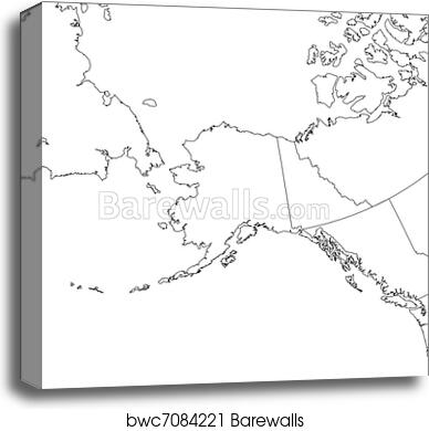 picture relating to Printable Maps of Alaska referred to as Blank Alaska Map canvas print