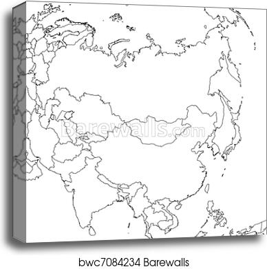 Blank Asia Map canvas print