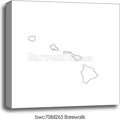 image relating to Printable Map of Hawaii named Blank Hawaii Map canvas print