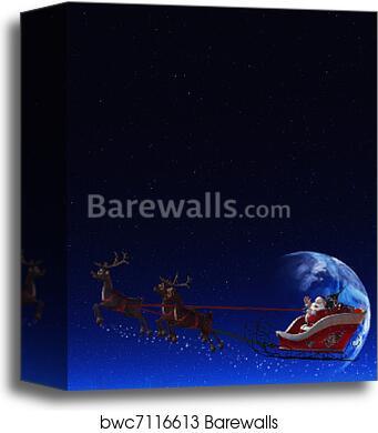canvas print of santa claus and his reindeer barewalls posters