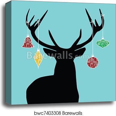 Christmas Reindeer Silhouette.Christmas Reindeer Silhouette Canvas Print