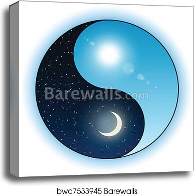 Canvas Print Of Sun And Moon In Yin Yang Symbol Barewalls Posters