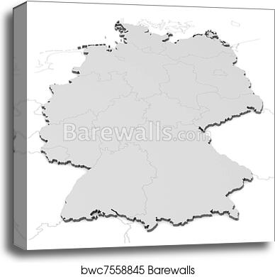 Germany map with states canvas print