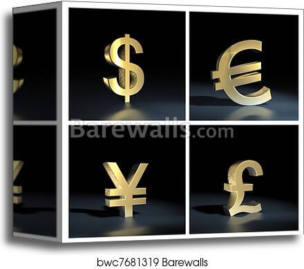 Canvas Print Of Different Currency Symbols Over Bla Barewalls