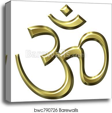 3D Golden Hinduism Symbol canvas print