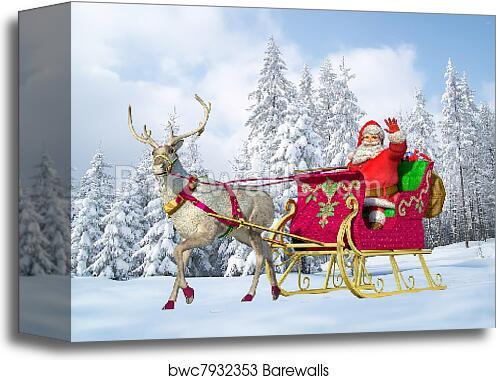 canvas print of santa claus on his sleigh and reindeer barewalls