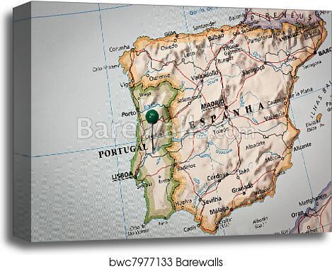 Iberian peninsula Map, Canvas Print | Barewalls Posters & Prints ...