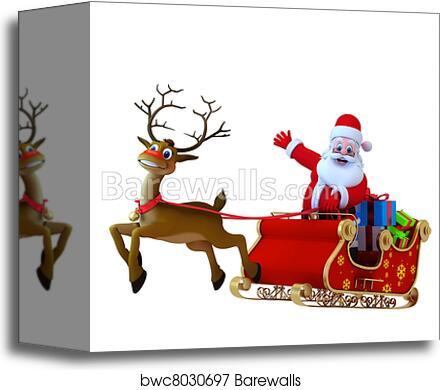 canvas print of santa with his sleigh barewalls posters prints