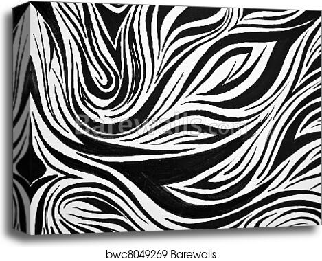 Abstract Black And White Swirl Background Canvas Print