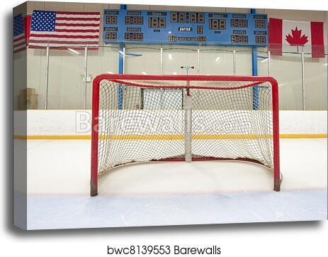 Hockey net with scoreboard canvas print