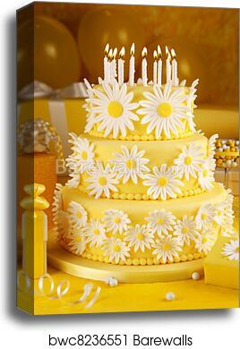 Peachy Daisy Birthday Cake Canvas Print Barewalls Posters Prints Funny Birthday Cards Online Alyptdamsfinfo