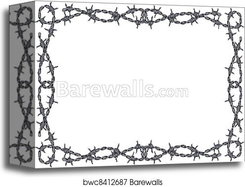 Canvas Print of Barbed wire frame vector | Barewalls Posters ...