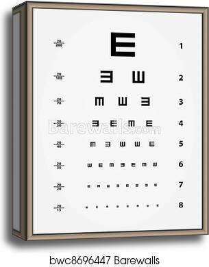 picture regarding Printable Eye Chart named Vector Snellen eye check out chart canvas print