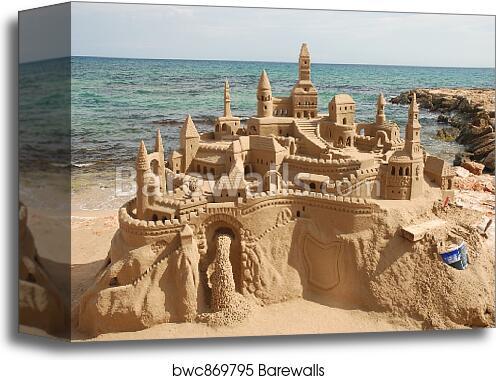 Sandcastle On The Beach Art Print Canvas Home