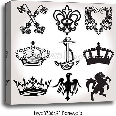 Heraldic Symbols And Elements Canvas Print