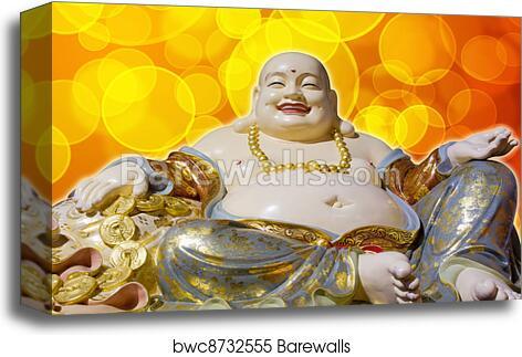Big Belly Maitreya Happy Laughing Buddha Statue Canvas Print Barewalls Posters Prints Bwc8732555