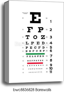 picture about Printable Eye Chart known as Eye try out chart canvas print