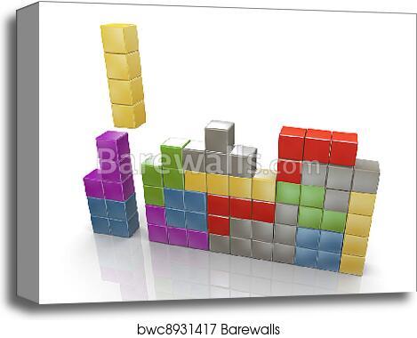 3d classic tetris game canvas print