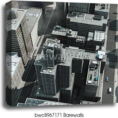 Aerial View Of A Big City Canvas Print Barewalls Posters Prints