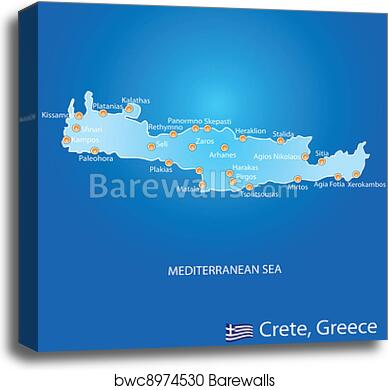 Island Of Crete Greece Map.Island Of Crete In Greece Map Canvas Print Barewalls Posters