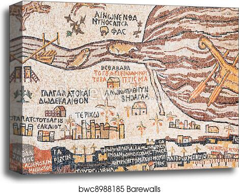 Replica of antique Madaba map of Holy Land canvas print on vienna genesis, macedonian renaissance, late antique and medieval mosaics in italy, joshua roll,