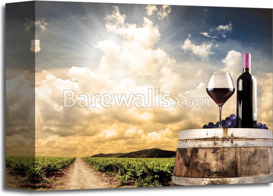 Wine Still Life Against Vineyard Art Print/Canvas Home Decor Wall ...