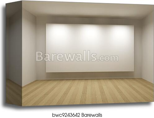 Canvas Print of Empty room with white frame, art gallery concept, 3d ...