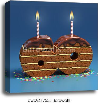 Tremendous Number 60 Shaped Birthday Cake Canvas Print Barewalls Posters Personalised Birthday Cards Sponlily Jamesorg