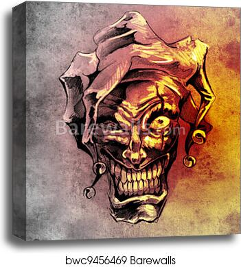 Fantasy Clown Joker Sketch Of Tattoo Art Over Dirty Background Canvas Print Barewalls Posters Prints Bwc9456469