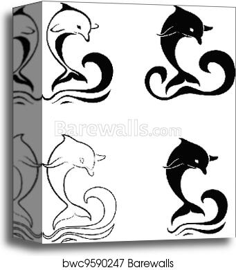 canvas print of silhouettes of the dolphins barewalls posters