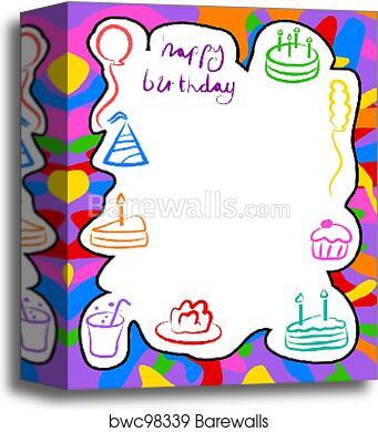 Canvas Print of Birthday border | Barewalls Posters & Prints | bwc98339