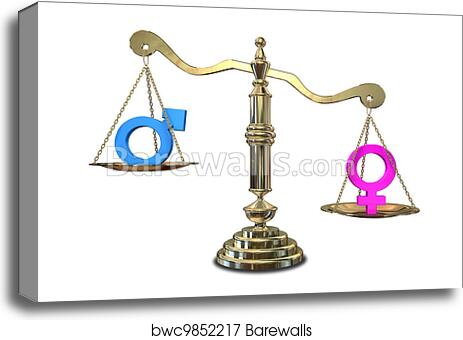 Canvas Print Of Gender Inequality Balancing Scale Barewalls