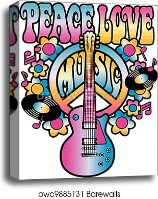 Peace love and music canvas painting